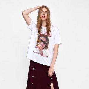 Zara We're Divine Graphic T Shirt